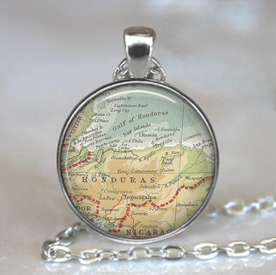 Honduras map pendant, Honduras map necklace, Honduras pendant, vintage map jewelry, resin pendant keychain key chain key fob