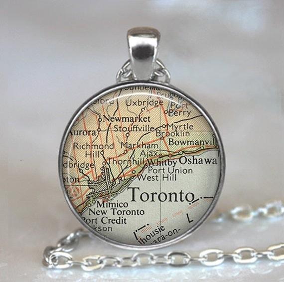 Toronto, Canada vintage map pendant, Toronto map pendant, Toronto map necklace, Toronto pendant, Toronto keychain key chain