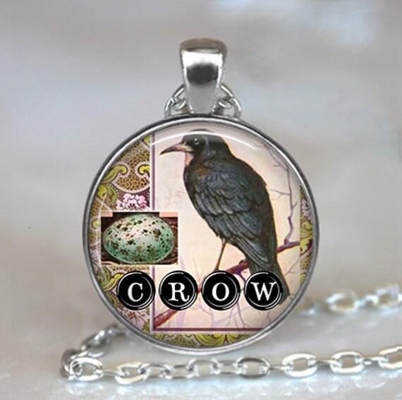 Crow Collage art pendant, Crow jewelry, Crow necklace, crow pendant, symbolic jewelry crow jewellery crow keychain key chain key fob
