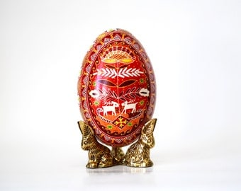 Red Goose egg Pysanka, Ukrainian Easter egg, wedding keepsake, Reindeers ornament, gift for parents to be, fertility symbol, Valentines gift