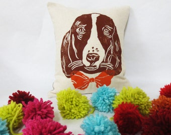 Springer Spaniel Block Printed Pillow - Your Choice of Bow Tie Color