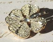 SALE BOUCHER Rhinestone Brooch Pin 6349 Reversible Shamrock Genuine Pearl Vintage Jewelry