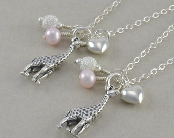 Giraffe Necklaces Mommy and Me. Sterling Silver. Pink Pearl. Gift new Mom. Mothers Day. Baby shower. giraffes. AVAYA