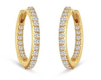 """Inside & Outside Diamonds Hoop Earrings 0.75"""" inch 14K Yellow Gold 0.86 Carat HandMade"""