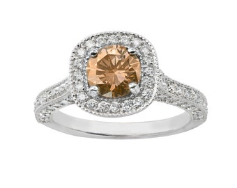 Platinum Diamond Engagement Ring Champagne & White Diamond Engagement Ring 1.85 Carat Halo Certified HandMade Pave Set