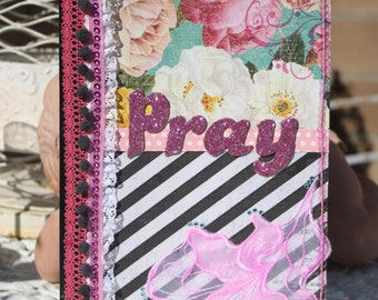 Pink Floral Prayer Journal Notebook Diary by My Cozy Cottage Designs One of a Kind