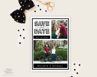 SAVE THE DATE - Block Flourish Two Photo Black and White Save the Date Cards by Sincerely, Jackie