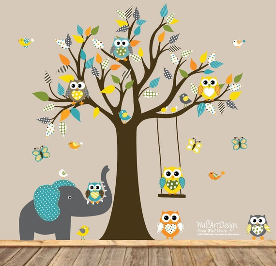 Children Wall decals, Nursery Wall Decals, Tree Wall Decals, Baby Wall Decals, Vinyl Wall Decals, Tree Decals,Owl Tree Decals