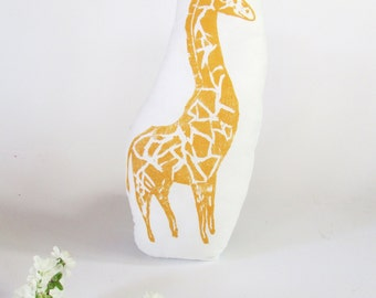 Plush Giraffe Pillow. Hand Woodblock Printed. Choose ANY Color. Made to Order.