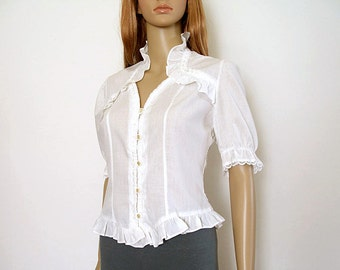 Vintage 1970s Blouse White Ruffled Lacy Blouse Top / Small