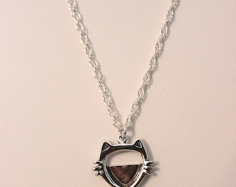 Sterling Silver Add A Cat Photo Pendant Necklace
