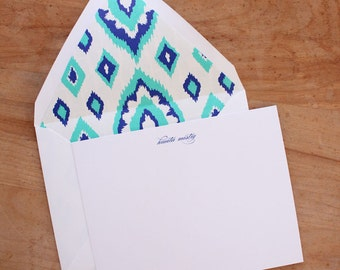 MONTHLY SALE NOTECARDS - ikat (blue and turquoise) / teacher gift / mother's day gift