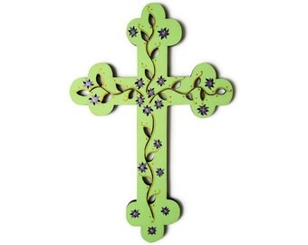 Decorative Cross, hand painted wooden cross, floral cross, green cross, wooden cross, cross wall art, purple flowers, green home decor