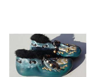 Pair of Teal Green Moccasins Leather Shoe Laces with Pony Beads and Faux Fur Ceramic Home and Garden Collectibles Figurines