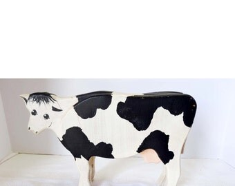 Hand Painted Wood Cow White And Black Home Garden Home Decor Collectibles Figurine Animal Figurine