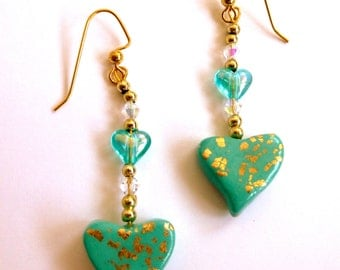 Mint Green Heart Dangle Earrings Mint Green Heart Drop Earrings Polymer Clay Earrings Valentine's Day Earrings Hand Made
