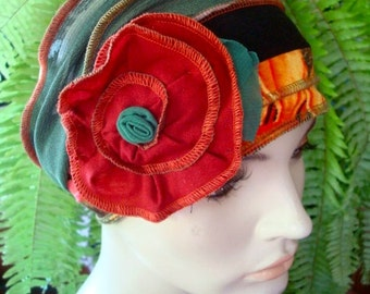 Womens Adult Extra Wide Headband Chemo Headwear Chemotherapy head wrap Autmn with Large Rust flower