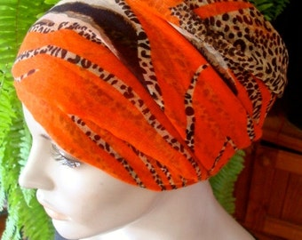 Turban womens Chemo Hat Headscarf Orange brown animal print  Classic style How to Tie
