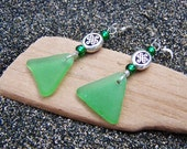 Sea Glass Beach Glass Earrings in True Green with Silver Celtic Knot Beads and Glass Beads on Sterling Silver Ear Wires EG 35