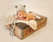 Wool Knit Bear Hat for Baby, Beautiful Photography Prop