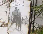 Love on the Ski Slopes - Large Rusty Tin Sled - Vintage Ski - Ornament - Vintage Sled - Ski - Sled - Rustic - Sweetheart - Vintage Photo