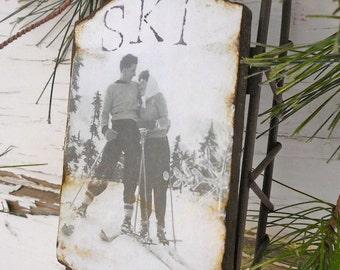 Love on the Ski Slopes - Large Rusty Tin Sled - Vintage Ski - Ornament - Vintage Sled - Ski - Sled - Rustic - Sweetheart - Vintage Photo