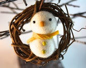 Needle felted snowman wreath Christmas ornament home decor