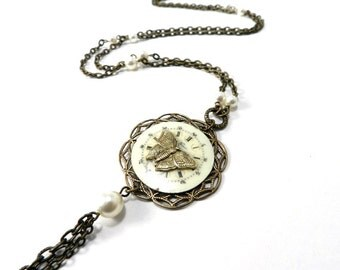 Steampunk Butterfly Necklace, Ivory Pearl Gold Enamel Porcelain Pocket Watch Dial Butterfly Necklace, Steampunk Jewelry - compassrosedesign