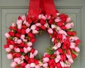 Valentine Wreath - Tulip Wreath - Valentines Day Wreath