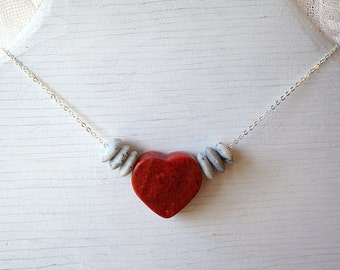 Summer Outdoors Red Coral Heart Necklace Sterling Silver Chain Modern Minimalist Simple Necklace Large Stone Beads jewelry trend 2017