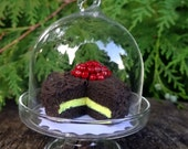Miniature Faery Cake ~ Chocolate Crème Cake topped with Cherry Preserves