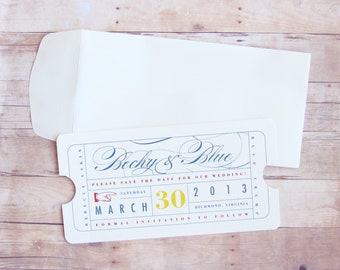 Vintage Ticket Wedding Save the Date - Bridal Shower, Reherasal Dinner, Engagement, Birthday Party Invitation - Movie, Theater, Red Carpet