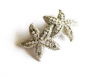 Rhinestone Starfish Barrette Silver Crystal Bridal Hair Clip Destination Beach Wedding Accessories Bride Bridesmaids Womens Gift For Her