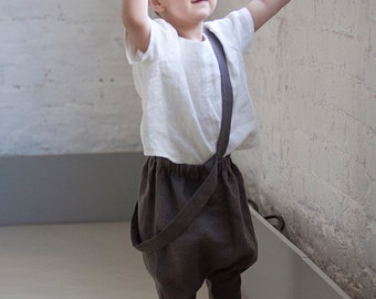 Boys clothing Linen harem pants with straps Boy Trousers with suspenders Boys clothing