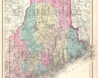 Vintage MAINE STATE MAP - Old Map 1855 Maine -  Instant Download Digital Printable Map - Colton Map of Maine