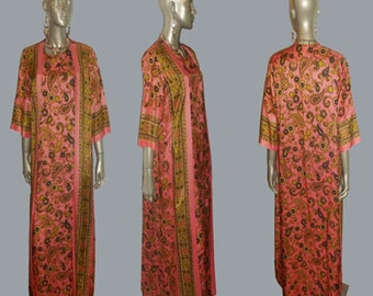 Vintage Georgie Keyloun? Rare Ethnic Pink Multicolor Floral Paisley Psychedelic Print 3/4 Sleeve Two-fer Wrap Kimono Long Caftan Gown Dress