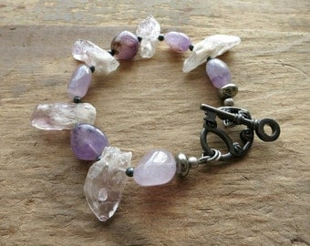 Tribal Amethyst Statement Bracelet, chunky purple Bohemian bracelet with rough stone crystals and smooth tumbled pebbles