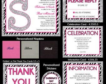 Bat Mitzvah Invitations Zebra Print