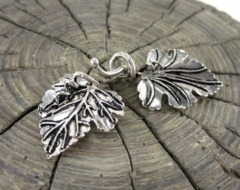 Sterling Silver Hook and Eye Leaf Clasp
