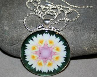 Lotus Mandala Pendant Necklace Zen Boho Chakra Sacred Geometry Kaleidoscope Bohemian Unique Gift For Her Hippie Meditative Profound Soul