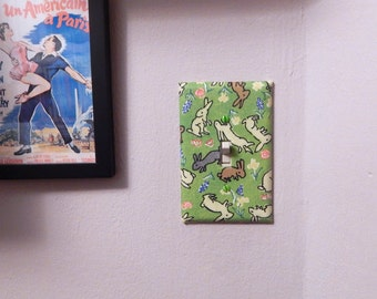 Rabbits and Flowers Fabric Covered Light Switch Plate