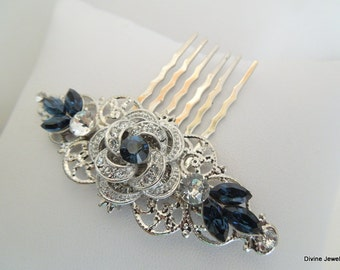Bridal Blue Swarovski Crystal Wedding Comb Wedding Hair Accessories Vintage Style Leaf Rhinestone Bridal Hair swarovski hair Comb ROSELANI