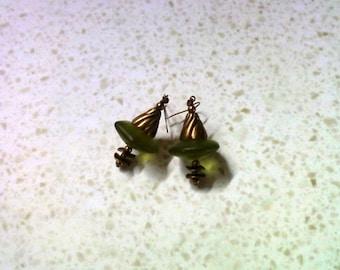 Chunky Olive Green Earrings (1610)