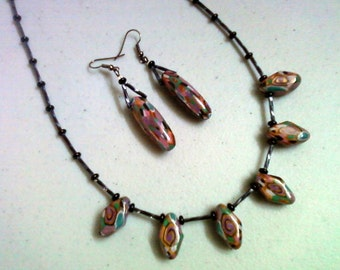 Multicolor mosiac polymer clay Necklace and Earring Set (0721)