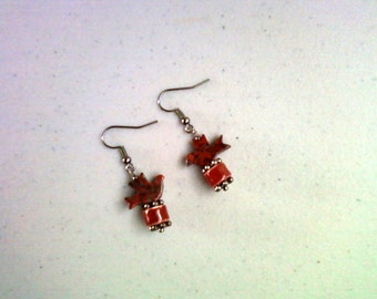 Rust Red and Black Bird Earrings (1209)
