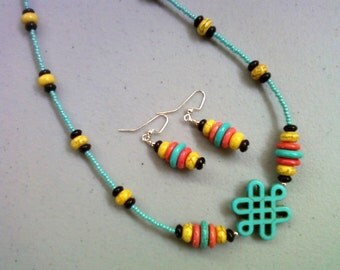 Turquoise, Yellow and Orange Magnesite Necklace & Earrings (0216)