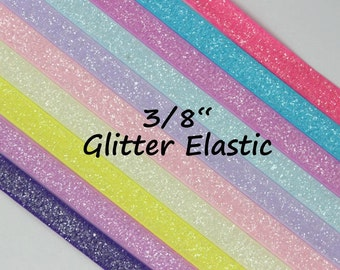 """5YD-Frost Glitter Elastic-3/8""""-You Choose Colors"""
