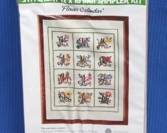 Flower Calendar Stitchery Kit - WonderArt Creative Needlecrafts - embroidery
