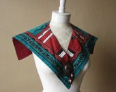 STOREWIDE CLEAROUT SALE unique southwestern cotton v shape vintage 80s 1980s kitsch hipster indie teal sienna stole collar southwest style n