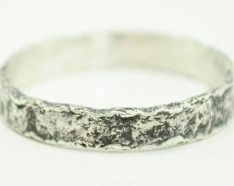 Sterling Textured Band Distressed Sterling Silver Ring Hand Crafted Metalwork 4mm Wide 925